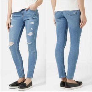 Topshop Moto Distressed Skinny Ankle Denim Jeans